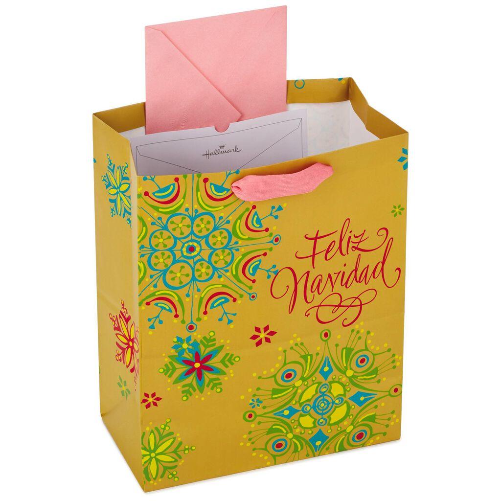 feliz navidad spanish language large christmas gift bag with tissue paper 13