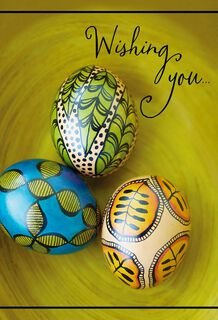 Colorful Decorative Eggs Easter Cards, Pack of 6,