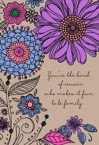 Bold Flowers Birthday Card For Cousin Greeting Cards Hallmark