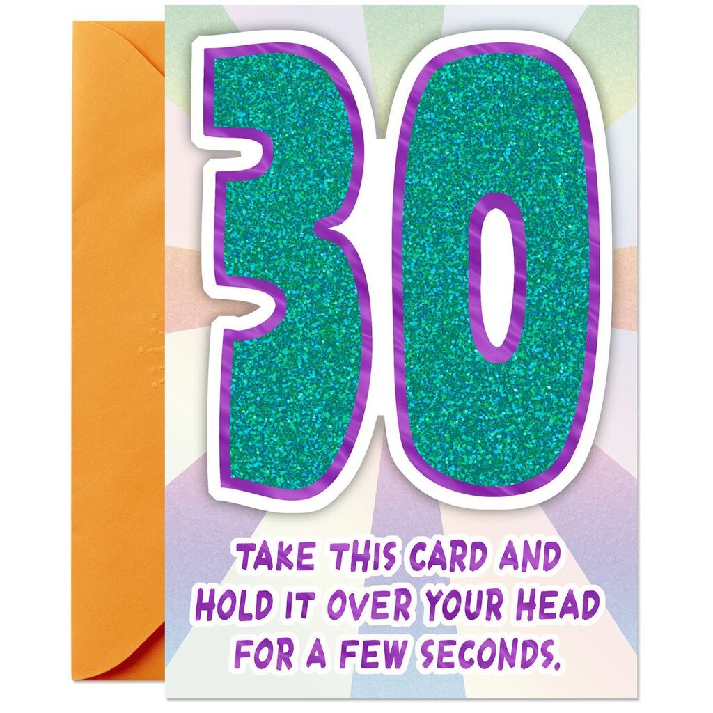 Glittery Numbers Funny 30th Birthday Card