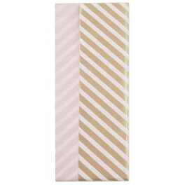 Gold Stripe/Light Pink Reversible Tissue Paper, 4 Sheets, , large