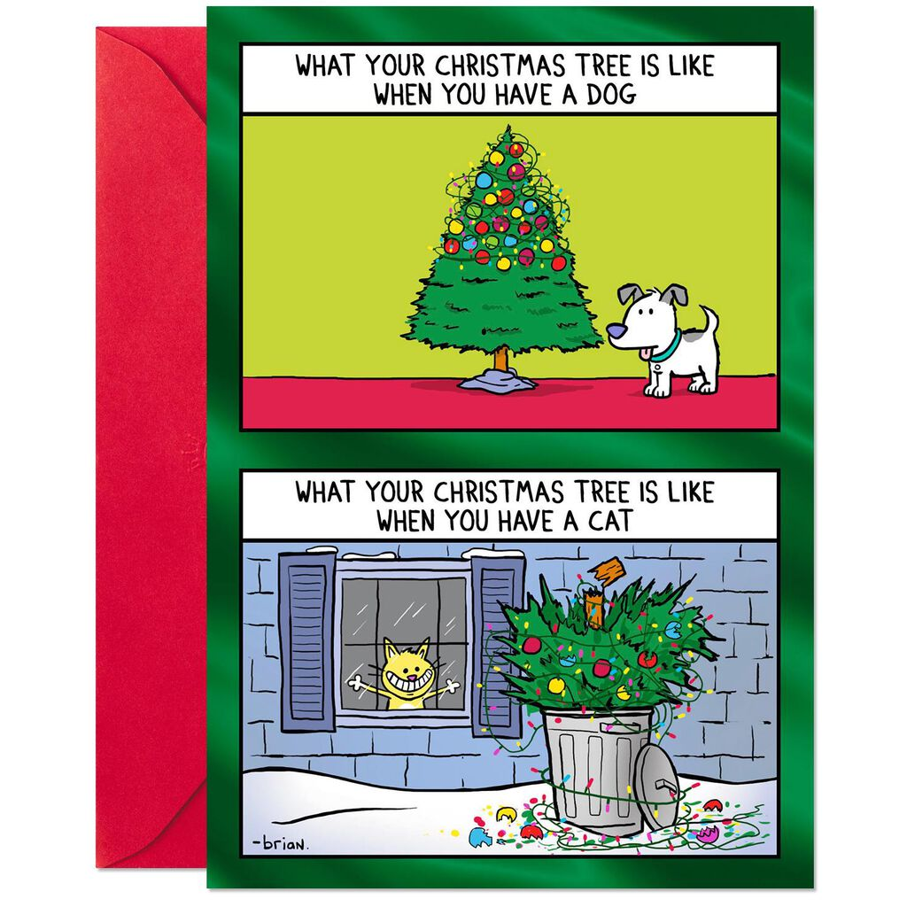 ... Tree Trimming: Cat Versus Dog Funny Christmas Card