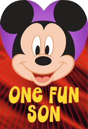Mickey Mouse One Fun Son Valentine's Day Card