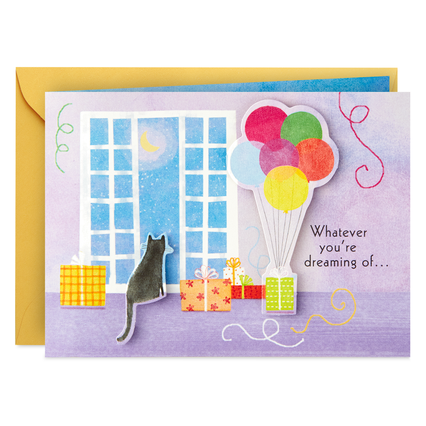 Wishes For You Cat And Balloons Mini Pop Up Birthday Card Greeting Png 1024x1024 Maxine Get