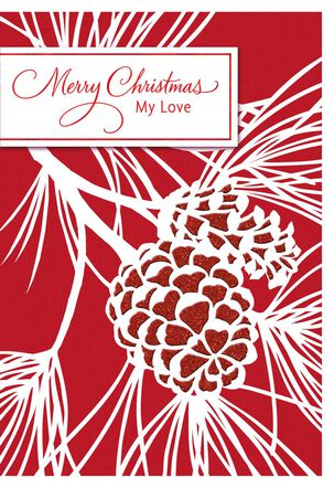 Pinecones and Branches Christmas Love Card