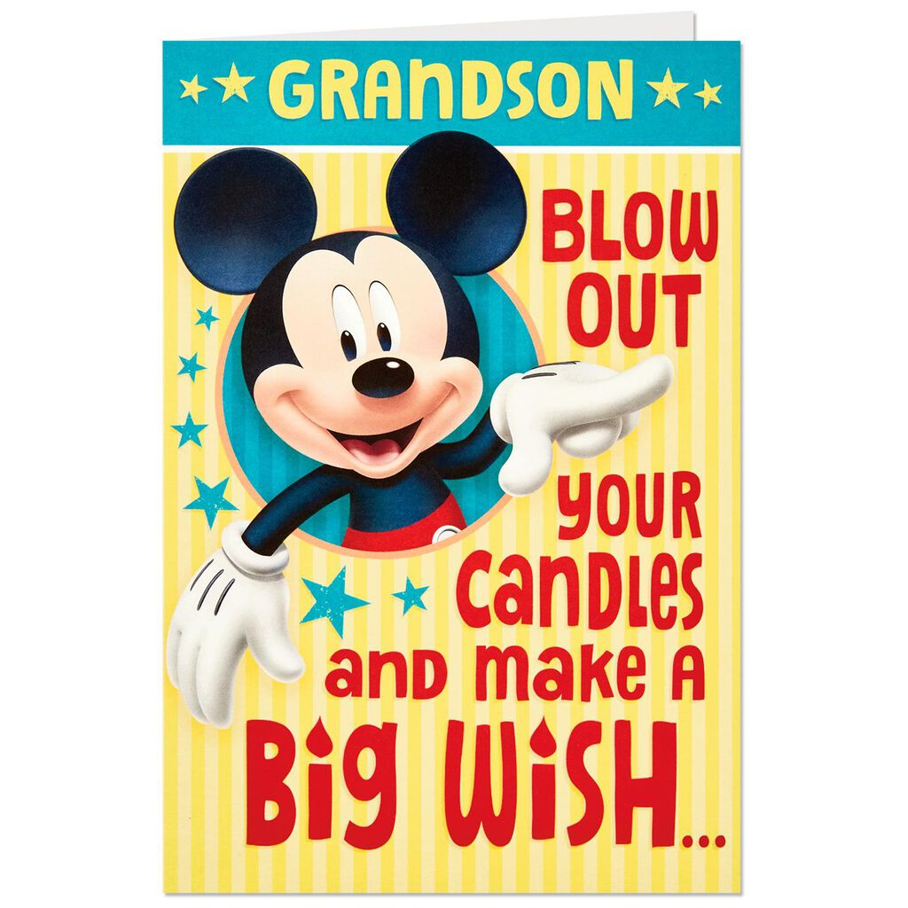 Disney Mickey Mouse Big Wish Pop Up Birthday Card For Grandson