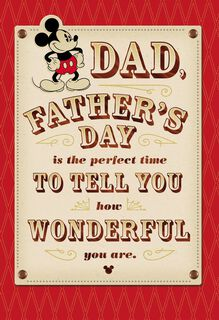 Mickey Mouse You're Wonderful Father's Day Card,