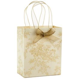 """Gold Toile Small Gift Bag, 6.5"""", , large"""