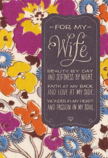 Beauty by Day Wife Birthday Card,