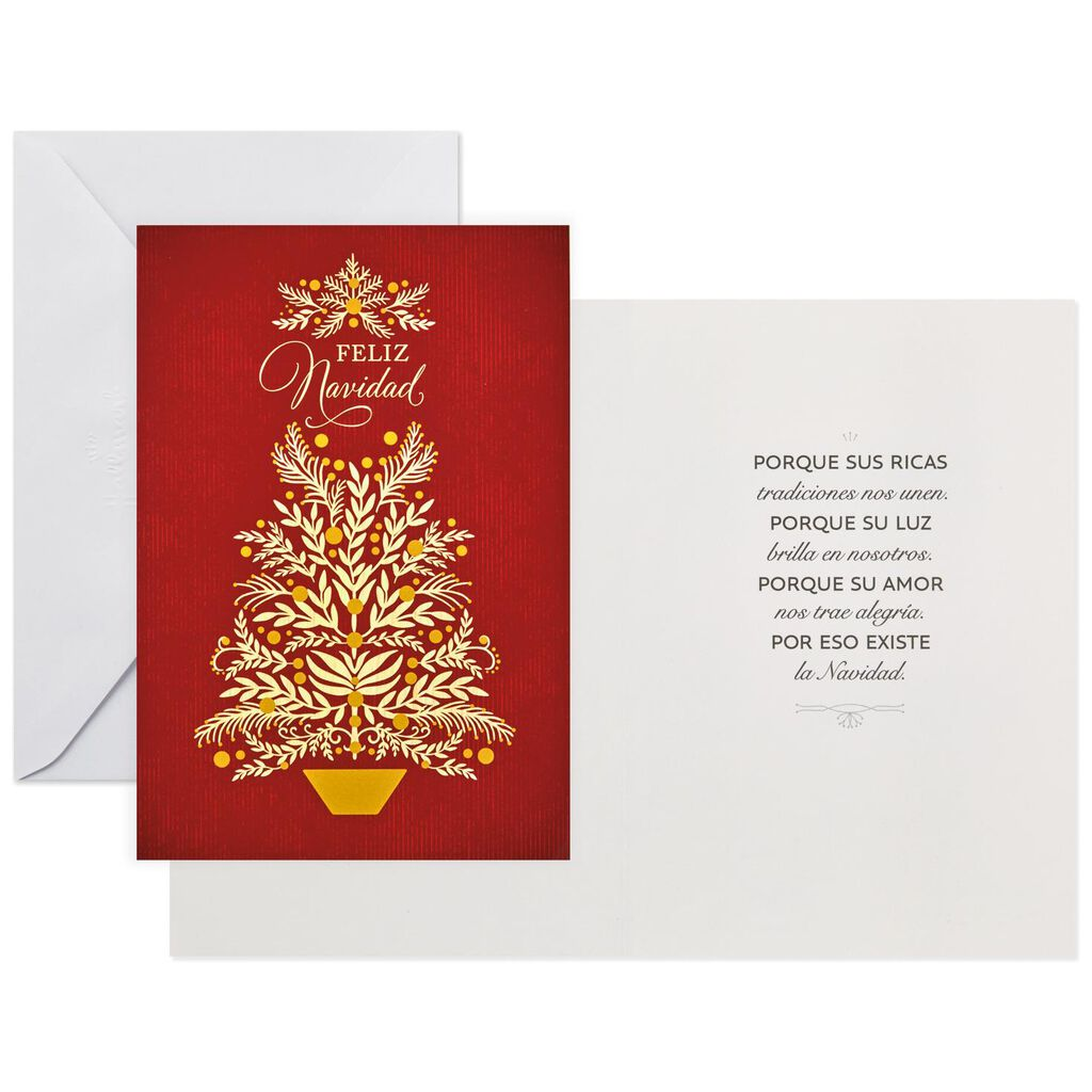Elegant Christmas Tree Spanish-Language Christmas Cards, Box of 16 ...