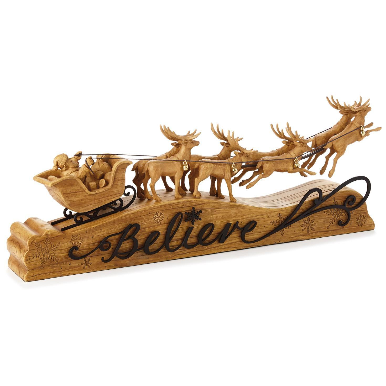 Santa And Reindeer Believe Tabletop Decoration Decorative