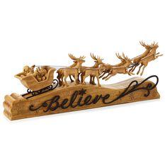 Santa And Reindeer Believe Tabletop Decoration