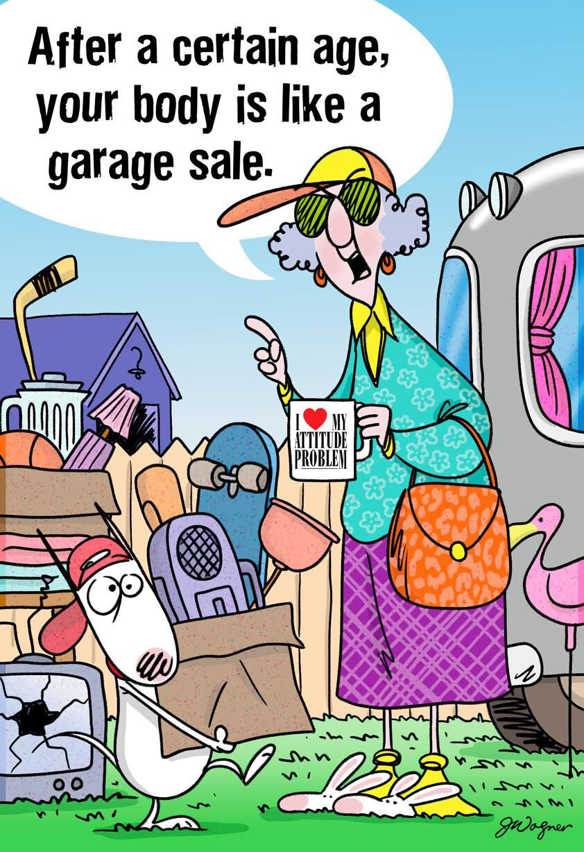 Maxine Aging Is Like a Garage Sale Funny Birthday Card Greeting – Funny Birthday Cards About Getting Old