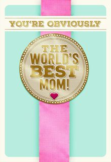 World's Best Mom Ribbon Funny Mother's Day Card,