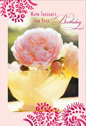 Peonies in Yellow Vase With Foil Birthday Card