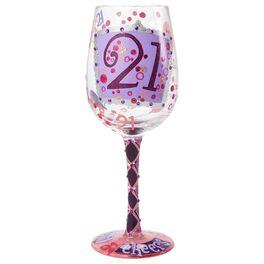Lolita® Cheers to 21 Handpainted Wine Glass, 15 oz., , large