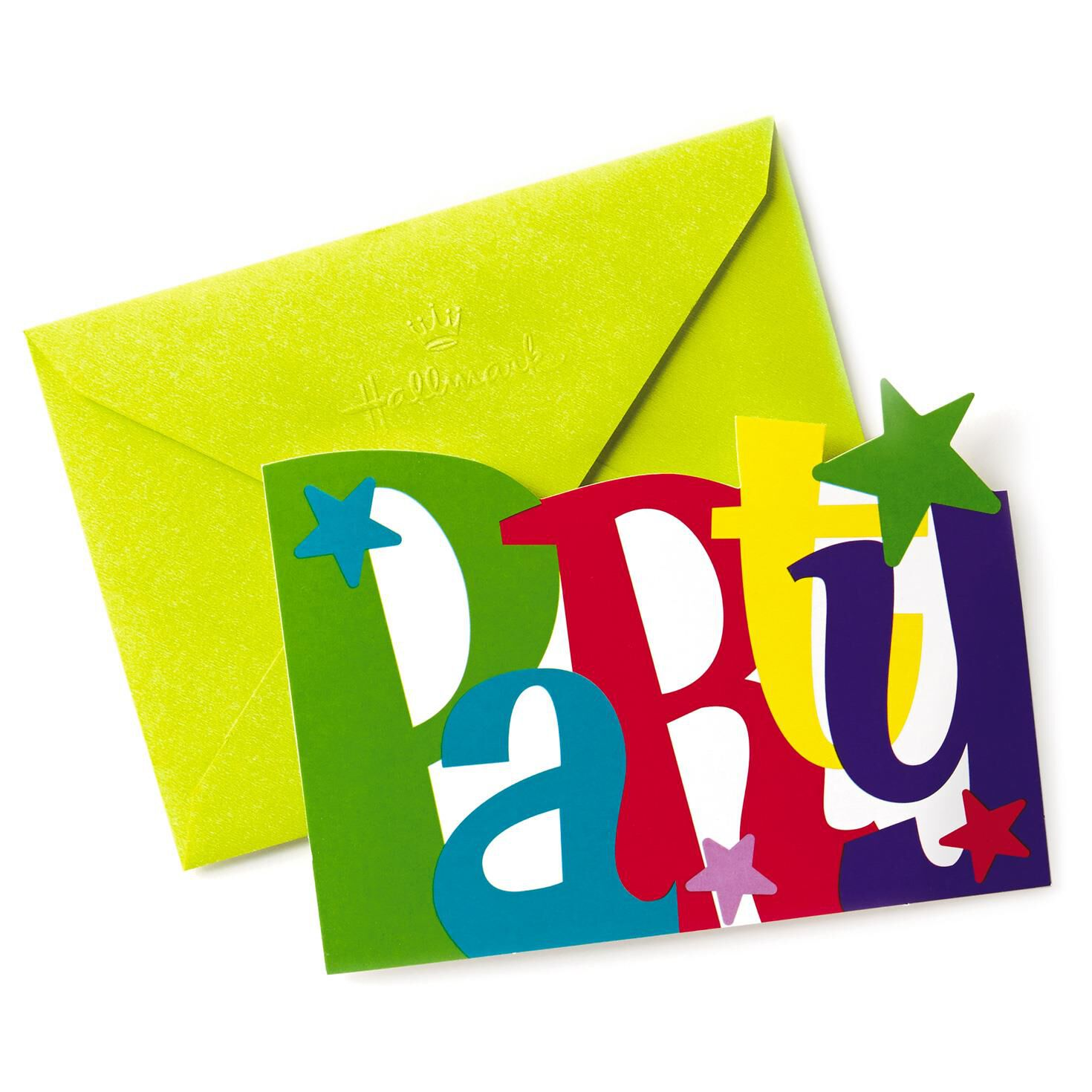 Colorful Letters Party Invitations Pack of 12 Boxed Cards – Packs of Party Invitations