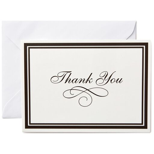 Black Borders Thank You Notes Box Of 25