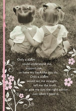 Black and White Photo of Sisters in Pigtails Mother's Day Card
