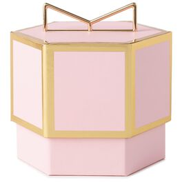 Pink With Gold Trim Small Gift Box, , large