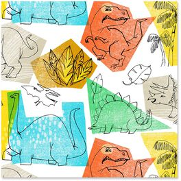 Color Block Dinosaurs Wrapping Paper Roll, 27 sq. ft., , large