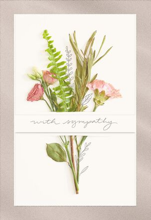 Pink Flower Bouquet Sympathy Card