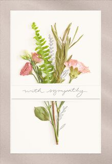 Pink Flower Bouquet Sympathy Card,