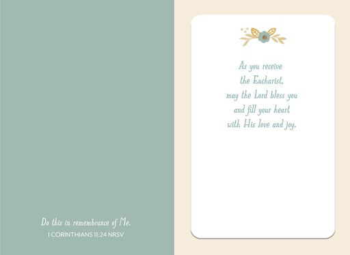 Cute Fox With Dove Religious First Communion Card,