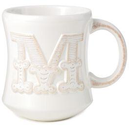 Initial M Monogram Ceramic Mug, , large