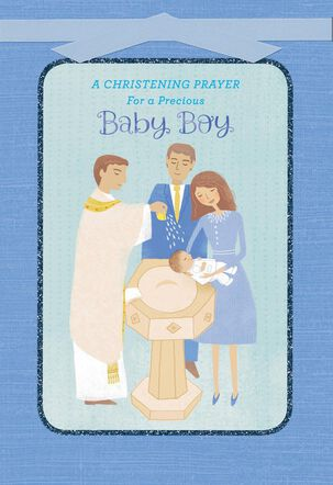 Blessings for a Sweet Baby Boy Christening Card