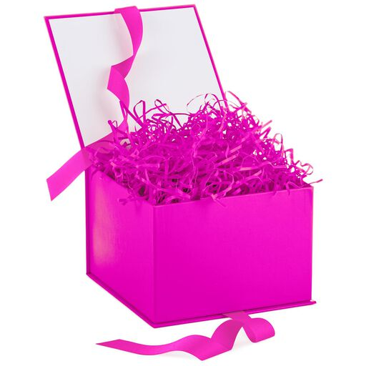 ... Hot Pink Large Gift Box With Shredded Paper Filler,