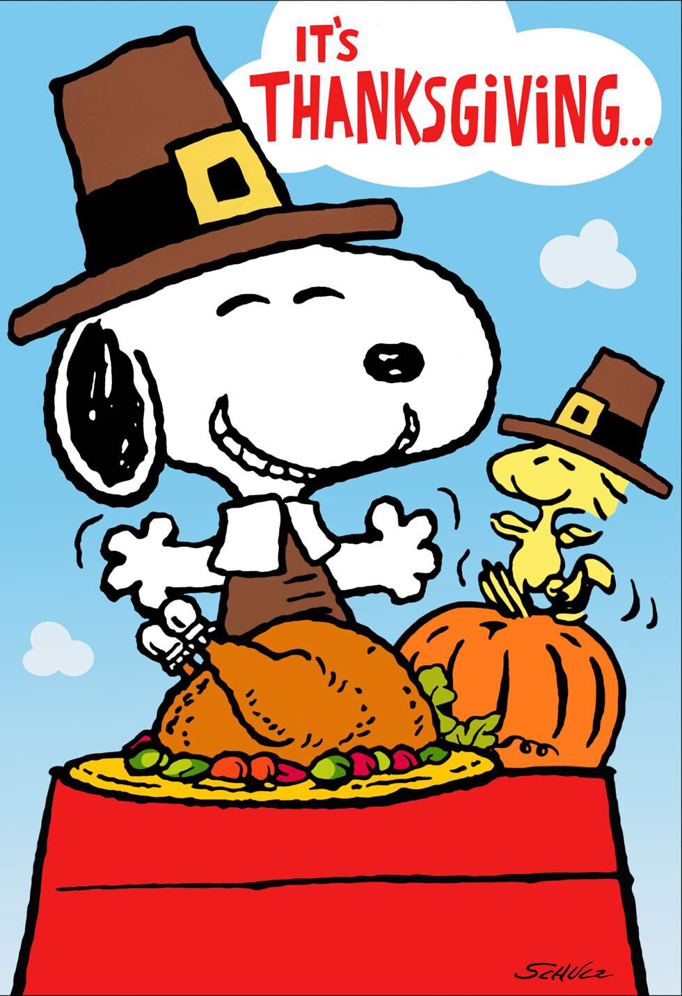 Peanuts® Snoopy and Woodstock Feast Thanksgiving Card ...