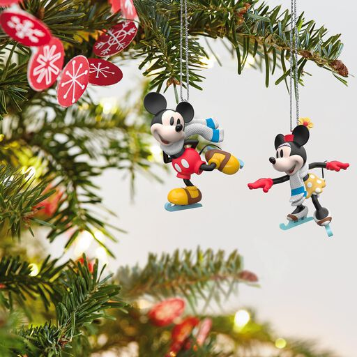 disney mickey and minnie mice on ice ornaments set of 2