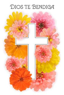 Cross With Flowers Spanish-Language Easter Cards, Pack of 6,