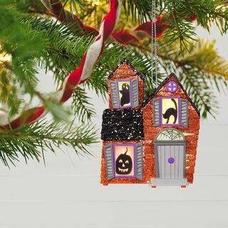 Mysterious Manor Haunted House Halloween Ornament With Light and Sound,