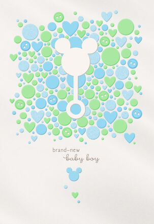Mickey Mouse Rattle New Baby Boy Card