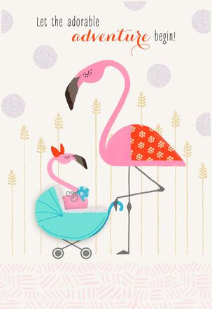 Sweet Pink Flamingos New Baby Card