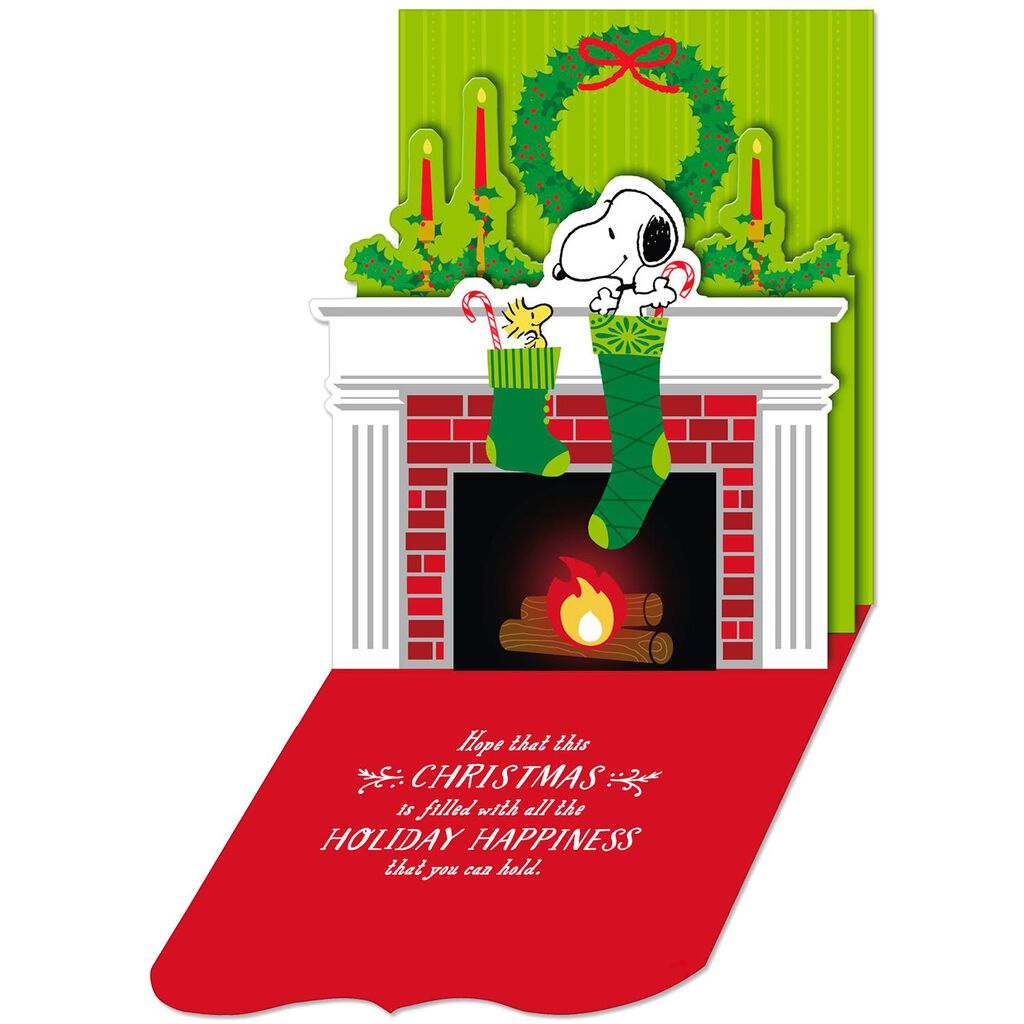 Snoopy Christmas Cards.Peanuts Snoopy Full Stocking Pop Up Christmas Card