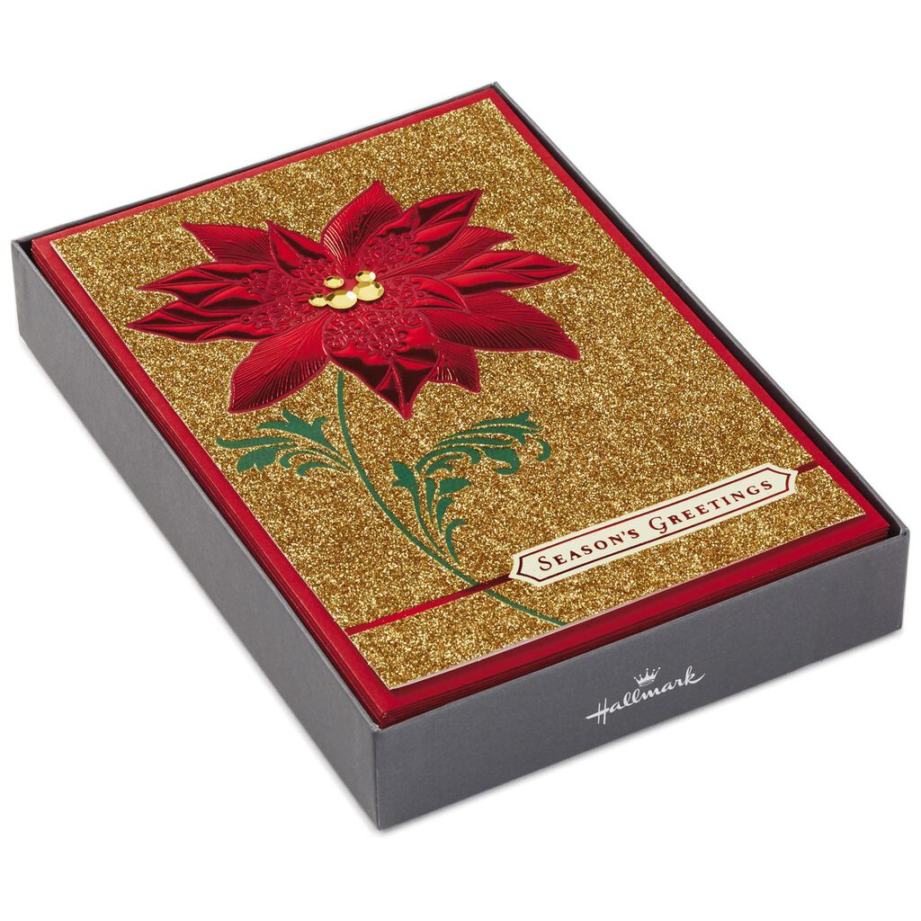 poinsettia on gold glitter christmas cards box of 12 boxed cards hallmark