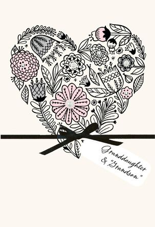 Floral Heart Anniversary Card for Granddaughter and Her Husband