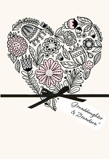 Floral Heart Anniversary Card for Granddaughter and Her Husband,