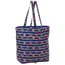 Mark & Hall Navy Floral Stripe Collapsible Nylon Tote, , large