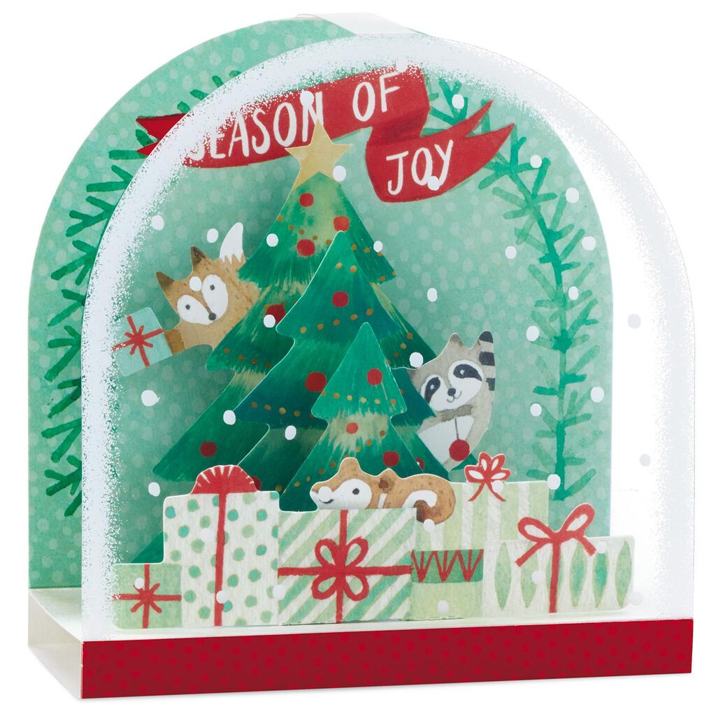 Pop Up Christmas Cards.Cute Critters With Decorated Tree Snow Globe Pop Up Christmas Card