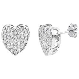 Heart Micro Pavé Stud Earrings In Sterling Silver, , large