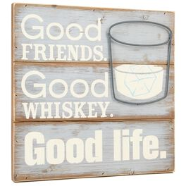 Good Friends, Whiskey 12x12 Rustic Wooden Sign, , large