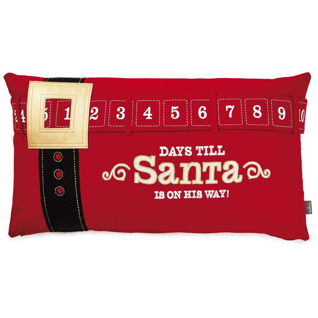 Days Till Santa Christmas Countdown Pillow 26x14