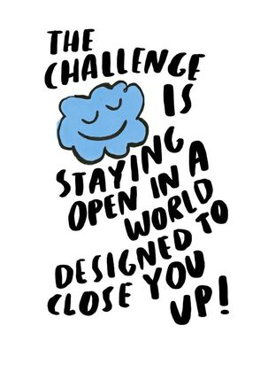 Little Blue Cloud Staying Open Encouragement Card