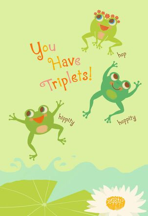 Jumping Frogs New Baby Triplets Card