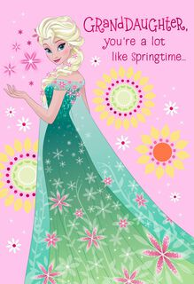 Disney Frozen Queen Elsa Easter Card for Granddaughter,