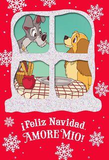 Lady and the Tramp Feliz Navidad Christmas Card,